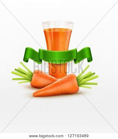 glass of carrot juice and two carrots isolated on white background