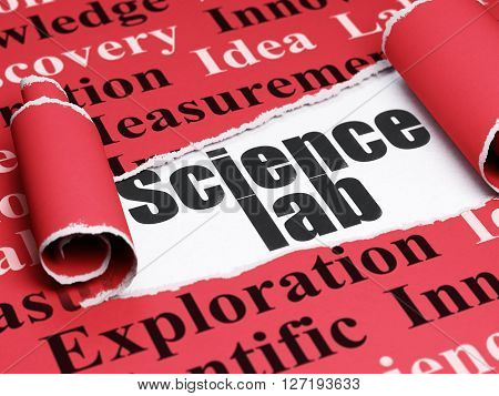 Science concept: black text Science Lab under the curled piece of Red torn paper with  Tag Cloud, 3D rendering