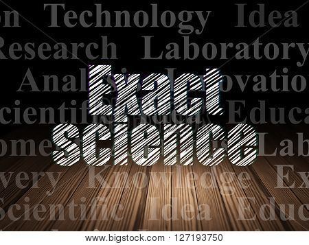Science concept: Glowing text Exact Science in grunge dark room with Wooden Floor, black background with  Tag Cloud