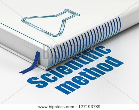 Science concept: closed book with Blue Flask icon and text Scientific Method on floor, white background, 3D rendering