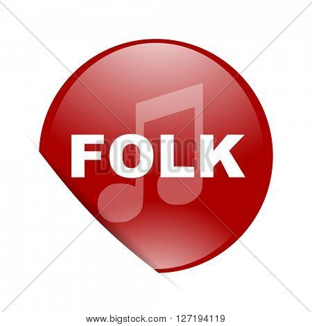 folk music red circle glossy web icon