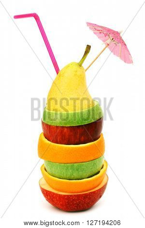 Fruit cocktail of sliced fruits stack isolated on white
