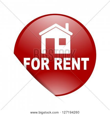 for rent red circle glossy web icon