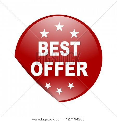 best offer red circle glossy web icon