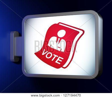 Politics concept: Ballot on advertising billboard background, 3D rendering