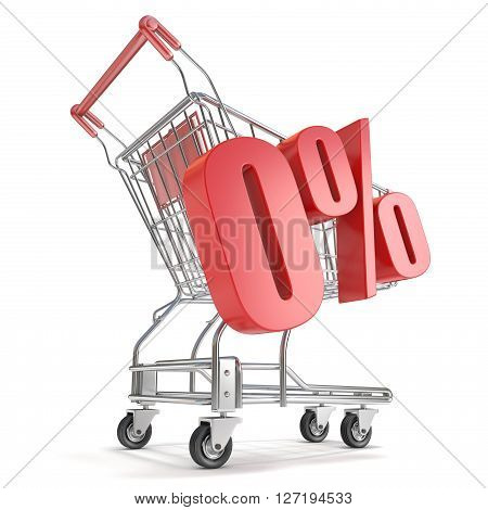 0% - zero percent discount in front of shopping cart. Sale concept. 3D render illustration isolated on white background