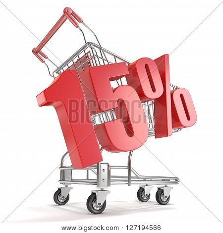 15% - fifteen percent discount in front of shopping cart. Sale concept. 3D render illustration isolated on white background