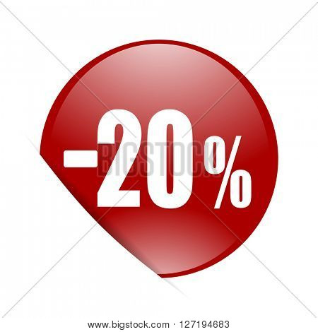 20 percent sale retail red circle glossy web icon
