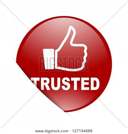 trusted red circle glossy web icon