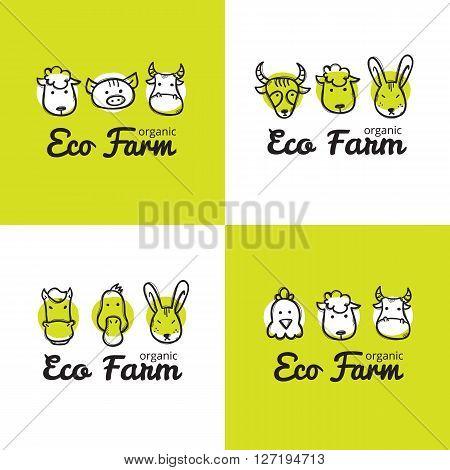 Vector set of cute eco farm logos in doodle style. Sketchy farm animals logos collection