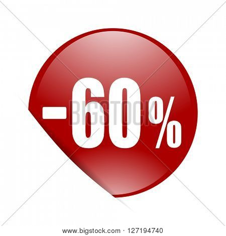 60 percent sale retail red circle glossy web icon