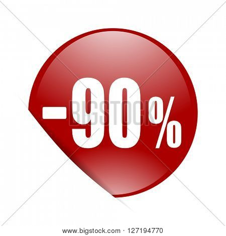 90 percent sale retail red circle glossy web icon