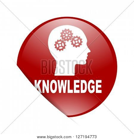 knowledge red circle glossy web icon