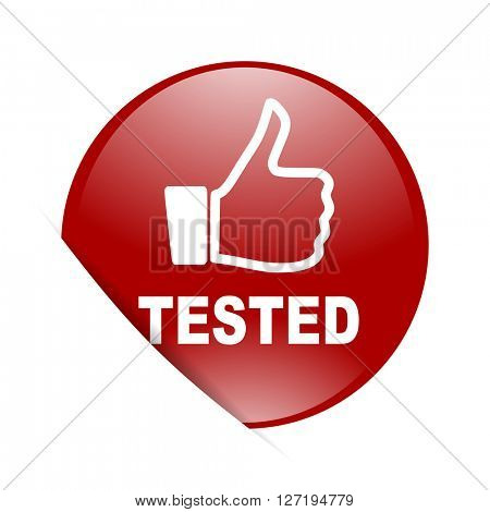 tested red circle glossy web icon