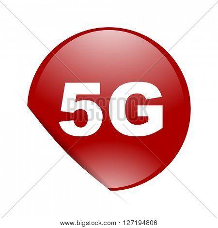 5g red circle glossy web icon