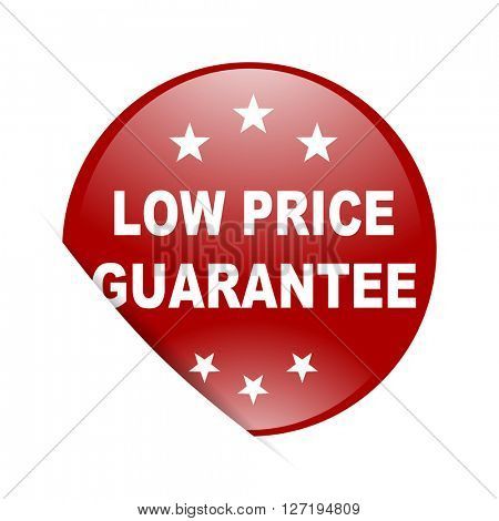 low price guarantee red circle glossy web icon