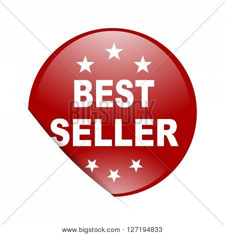 best seller red circle glossy web icon