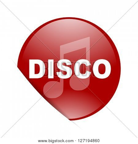 disco music red circle glossy web icon