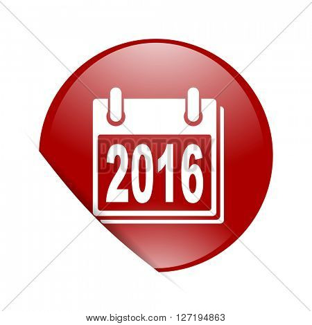new year 2016 red circle glossy web icon