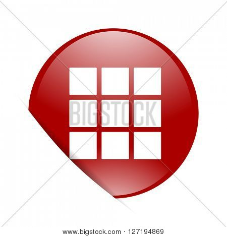 thumbnails grid red circle glossy web icon