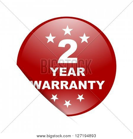 warranty guarantee 2 year red circle glossy web icon