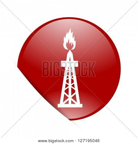 gas red circle glossy web icon