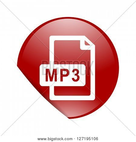mp3 file red circle glossy web icon