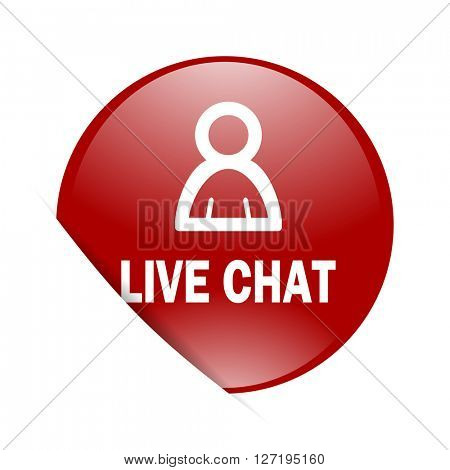live chat red circle glossy web icon