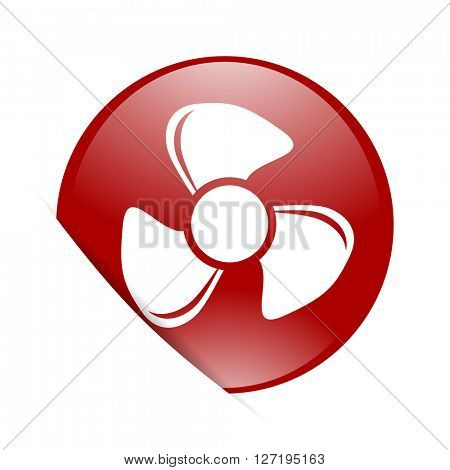 fan red circle glossy web icon