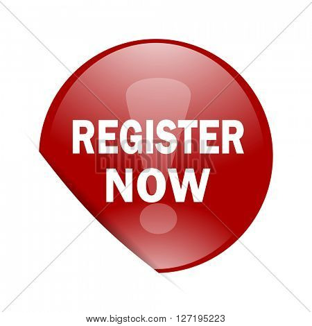 register now red circle glossy web icon