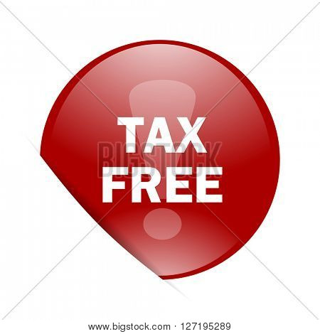 tax free red circle glossy web icon