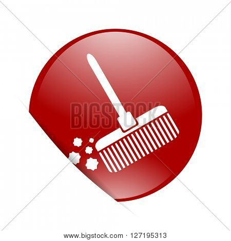 broom red circle glossy web icon