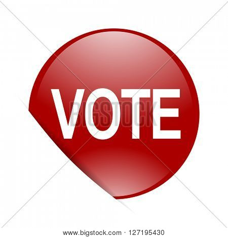 vote red circle glossy web icon
