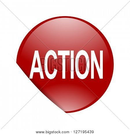 action red circle glossy web icon