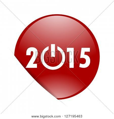 new year 2015 red circle glossy web icon