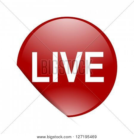 live red circle glossy web icon