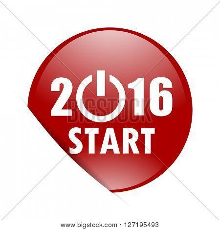 year 2016 red circle glossy web icon