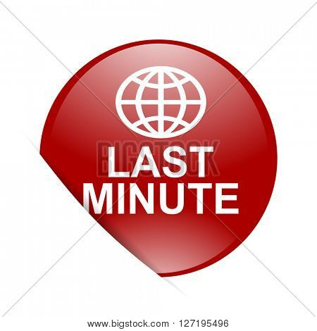 last minute red circle glossy web icon