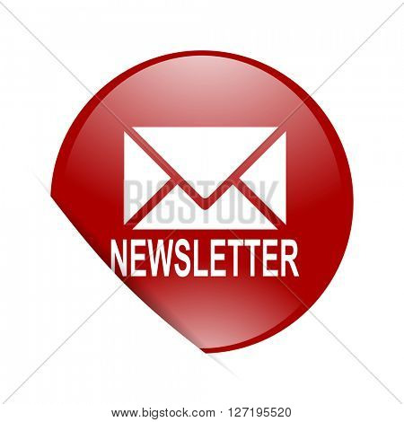 newsletter red circle glossy web icon