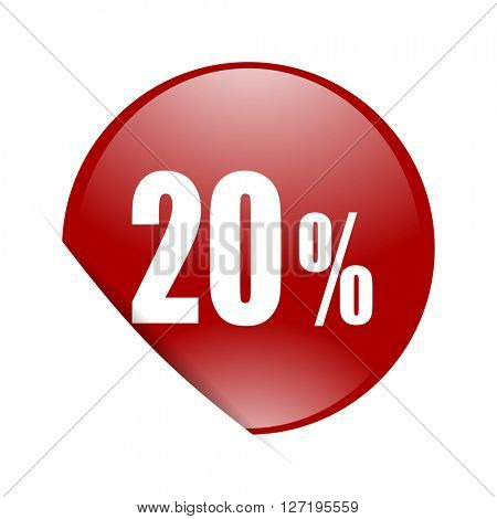 20 percent red circle glossy web icon