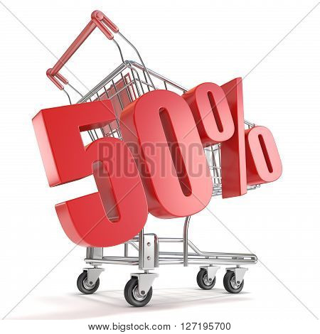 50% - fifty percent discount in front of shopping cart. Sale concept. 3D render illustration isolated on white background