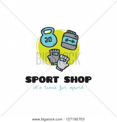 Vector funny cartoon style sport equipment shop logo with gloves, kettlebell and protein. Sketchy doodle sports logo
