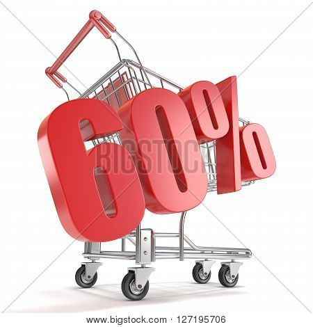 60% - sixty percent discount in front of shopping cart. Sale concept. 3D render illustration isolated on white background