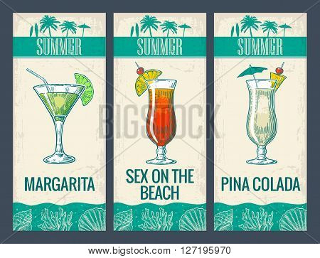Alcohol cocktail set. Margarita sex on the beach pina colada. Vintage vector engraving illustration for web poster menu invitation to summer beach party. Isolated on light background.