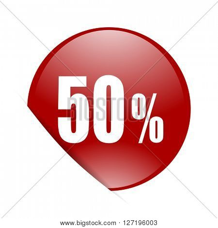 50 percent red circle glossy web icon