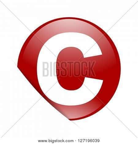 copyright red circle glossy web icon