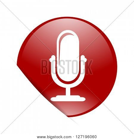 microphone red circle glossy web icon