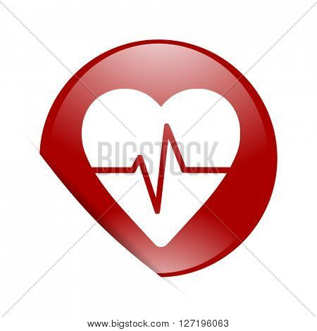 pulse red circle glossy web icon