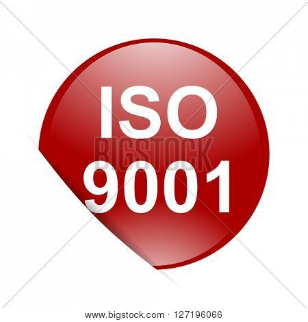 iso 9001 red circle glossy web icon