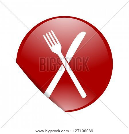 restaurant red circle glossy web icon